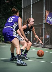 "Amanda Bartlett, Thanzina Cook West 4th Street Women's Pro Classic NYC: Run N Shoot (Purple) 93 v Cobra Hustlers (Black) 61 , ""The Cage"", New York, NY, August 11, 2012"