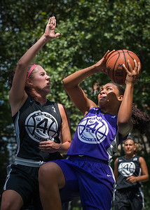 "Ariel Smith, Amanda Bartlett West 4th Street Women's Pro Classic NYC: Run N Shoot (Purple) 93 v Cobra Hustlers (Black) 61 , ""The Cage"", New York, NY, August 11, 2012"