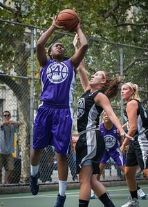 "Stefanie Bingham, Amanda Bartlett West 4th Street Women's Pro Classic NYC: Run N Shoot (Purple) 93 v Cobra Hustlers (Black) 61 , ""The Cage"", New York, NY, August 11, 2012"