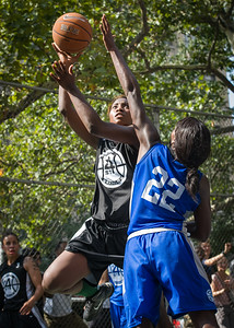 """Nijah LaCourt, Terry Green West 4th Street Women's Pro Classic NYC: Lady Soldiers (Blue) 70 v Down the Hatch (Black) 67, """"The Cage"""", New York, NY, August 11, 2012"""
