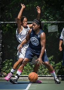 """Rashawnah French, Nicky Souter West 4th Street Women's Pro Classic NYC: No Limit (Navy) 62 v Imperial Crew (Grey) 51, """"The Cage"""", New York, NY, August 12, 2012"""