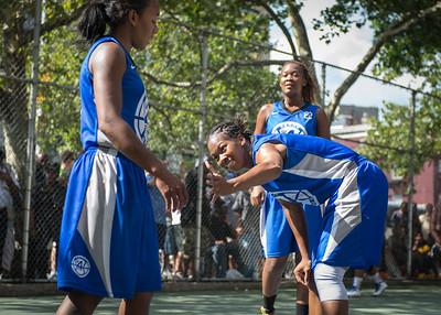 "Maurita Reid, Renee Taylor, Leeah Thomas West 4th Street Women's Pro Classic NYC: Primetime (Blue) 81 v Brooklyn Express (Burgundy) 64, ""The Cage"", New York, NY, August 12, 2012"
