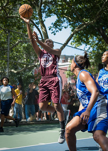 """Kendra Chandler West 4th Street Women's Pro Classic NYC: Primetime (Blue) 81 v Brooklyn Express (Burgundy) 64, """"The Cage"""", New York, NY, August 12, 2012"""