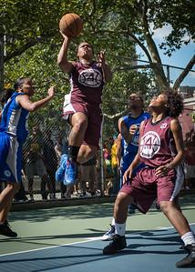 "Cigi McCollin, Tania Greenleaf West 4th Street Women's Pro Classic NYC: Primetime (Blue) 81 v Brooklyn Express (Burgundy) 64, ""The Cage"", New York, NY, August 12, 2012"