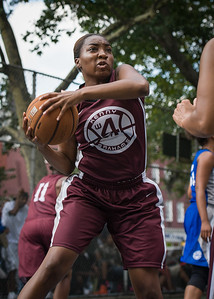 """Abby Williams West 4th Street Women's Pro Classic NYC: Primetime (Blue) 81 v Brooklyn Express (Burgundy) 64, """"The Cage"""", New York, NY, August 12, 2012"""