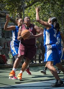 "Kimba Pierre, Katrina Peru West 4th Street Women's Pro Classic NYC: Primetime (Blue) 81 v Brooklyn Express (Burgundy) 64, ""The Cage"", New York, NY, August 12, 2012"