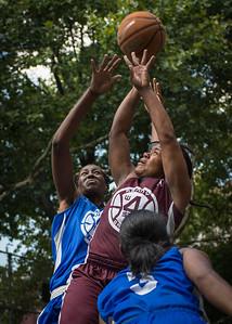 "Cigi McCollin, Sharlenia Charles, Renee Taylor West 4th Street Women's Pro Classic NYC: Primetime (Blue) 81 v Brooklyn Express (Burgundy) 64, ""The Cage"", New York, NY, August 12, 2012"
