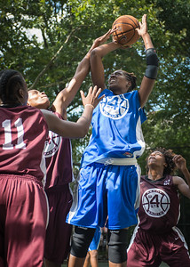 """Sharlenia Charles, Fabienne Jones West 4th Street Women's Pro Classic NYC: Primetime (Blue) 81 v Brooklyn Express (Burgundy) 64, """"The Cage"""", New York, NY, August 12, 2012"""