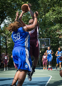 """Kendra Chandler, Jazmine Wright West 4th Street Women's Pro Classic NYC: Primetime (Blue) 81 v Brooklyn Express (Burgundy) 64, """"The Cage"""", New York, NY, August 12, 2012"""