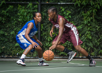 """Renee Taylor, Kendra Chandler West 4th Street Women's Pro Classic NYC: Primetime (Blue) 81 v Brooklyn Express (Burgundy) 64, """"The Cage"""", New York, NY, August 12, 2012"""