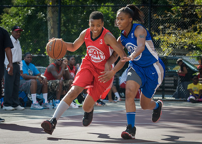 Nicole Rhem, Marika Sprow West 4th Street Women's Pro Classic NYC: Big East Ballers (Red) 95 v Lady Soldiers (Blue) 62, William F. Passannante Ballfield, New York, NY, August 12, 2012.