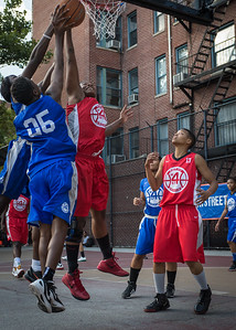 Kellindra Zackery, Alicia Cropper, Terry Green West 4th Street Women's Pro Classic NYC: Big East Ballers (Red) 95 v Lady Soldiers (Blue) 62, William F. Passannante Ballfield, New York, NY, August 12, 2012.