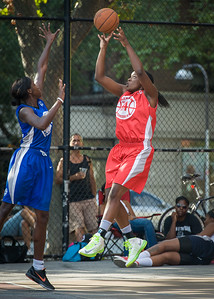 Korinne Campbell, Terry Green West 4th Street Women's Pro Classic NYC: Big East Ballers (Red) 95 v Lady Soldiers (Blue) 62, William F. Passannante Ballfield, New York, NY, August 12, 2012.