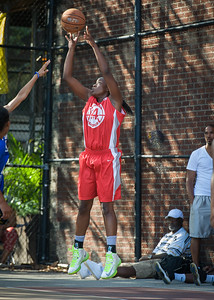 Korinne Campbell West 4th Street Women's Pro Classic NYC: Big East Ballers (Red) 95 v Lady Soldiers (Blue) 62, William F. Passannante Ballfield, New York, NY, August 12, 2012.