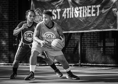 Tasha Cannon, Desiree Simmons West 4th Street Women's Pro Classic NYC: Big East Ballers (Red) 95 v Lady Soldiers (Blue) 62, William F. Passannante Ballfield, New York, NY, August 12, 2012.