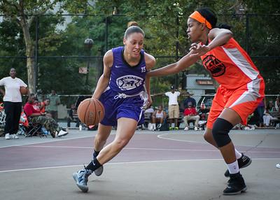 Thanzina Cook, Ayesha Barkley West 4th Street Women's Pro Classic NYC: Run N Shoot (Purple) 86 v Deuce Trey (Orange) 68, William F. Passannante Ballfield, New York, NY, August 12, 2012.