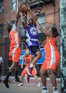 Stephany Neptune, Lateefah Joye, Yolanda Rayside West 4th Street Women's Pro Classic NYC: Run N Shoot (Purple) 86 v Deuce Trey (Orange) 68, William F. Passannante Ballfield, New York, NY, August 12, 2012.