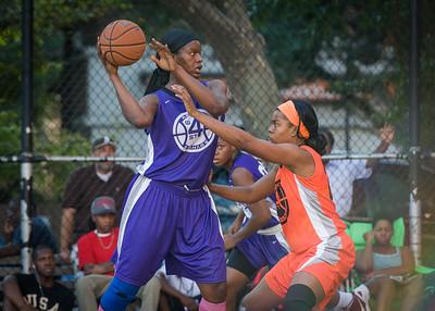Micki Younger, Ayesha Barkley West 4th Street Women's Pro Classic NYC: Run N Shoot (Purple) 86 v Deuce Trey (Orange) 68, William F. Passannante Ballfield, New York, NY, August 12, 2012.