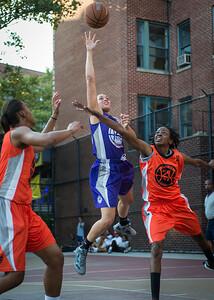 Thanzina Cook, Lateefah Joye West 4th Street Women's Pro Classic NYC: Run N Shoot (Purple) 86 v Deuce Trey (Orange) 68, William F. Passannante Ballfield, New York, NY, August 12, 2012.