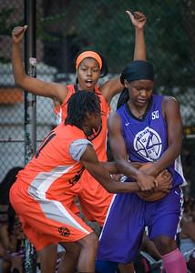 Micki Younger, Lateefah Joye, Ayesha Barkley West 4th Street Women's Pro Classic NYC: Run N Shoot (Purple) 86 v Deuce Trey (Orange) 68, William F. Passannante Ballfield, New York, NY, August 12, 2012.