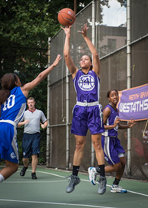 """Thanzina Cook West 4th Street Women's Pro Classic NYC: SEMIS-Primetime (Blue) 79 v Run N Shoot (Purple) 69, """"The Cage"""", New York, NY, August 18, 2012"""