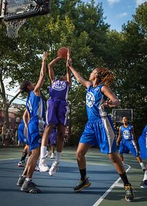 "Jewel Adams, Maurita Reid, Leeah Thomas West 4th Street Women's Pro Classic NYC: SEMIS-Primetime (Blue) 79 v Run N Shoot (Purple) 69, ""The Cage"", New York, NY, August 18, 2012"