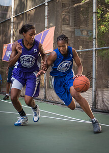 "Maurita Reid, Toni-Ann Lawrence West 4th Street Women's Pro Classic NYC: SEMIS-Primetime (Blue) 79 v Run N Shoot (Purple) 69, ""The Cage"", New York, NY, August 18, 2012"