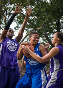 """Dana Wynne, Micki Younger, Thanzina Cook West 4th Street Women's Pro Classic NYC: SEMIS-Primetime (Blue) 79 v Run N Shoot (Purple) 69, """"The Cage"""", New York, NY, August 18, 2012"""