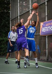 "Shemika Stevens, Thanzina Cook West 4th Street Women's Pro Classic NYC: SEMIS-Primetime (Blue) 79 v Run N Shoot (Purple) 69, ""The Cage"", New York, NY, August 18, 2012"