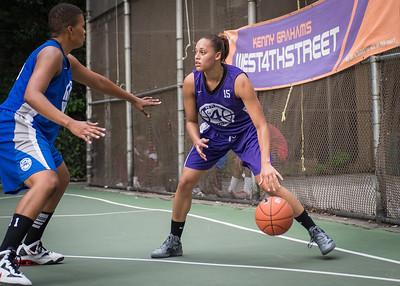 "Thanzina Cook, Dana Wynne West 4th Street Women's Pro Classic NYC: SEMIS-Primetime (Blue) 79 v Run N Shoot (Purple) 69, ""The Cage"", New York, NY, August 18, 2012"