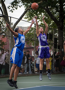 """Thanzina Cook, Katrena Perou West 4th Street Women's Pro Classic NYC: SEMIS-Primetime (Blue) 79 v Run N Shoot (Purple) 69, """"The Cage"""", New York, NY, August 18, 2012"""