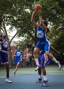 "Shemika Stevens West 4th Street Women's Pro Classic NYC: SEMIS-Primetime (Blue) 79 v Run N Shoot (Purple) 69, ""The Cage"", New York, NY, August 18, 2012"