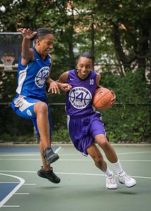 "Jewel Adams, Katrena Perou West 4th Street Women's Pro Classic NYC: SEMIS-Primetime (Blue) 79 v Run N Shoot (Purple) 69, ""The Cage"", New York, NY, August 18, 2012"