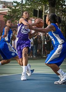 "Jewel Adams West 4th Street Women's Pro Classic NYC: SEMIS-Primetime (Blue) 79 v Run N Shoot (Purple) 69, ""The Cage"", New York, NY, August 18, 2012"