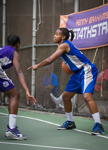 """Bianca Brown West 4th Street Women's Pro Classic NYC: SEMIS-Primetime (Blue) 79 v Run N Shoot (Purple) 69, """"The Cage"""", New York, NY, August 18, 2012"""
