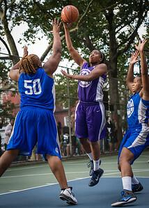 "Stefanie Bingham, Jazmine Wright West 4th Street Women's Pro Classic NYC: SEMIS-Primetime (Blue) 79 v Run N Shoot (Purple) 69, ""The Cage"", New York, NY, August 18, 2012"