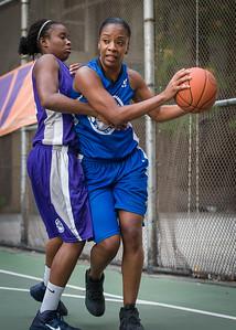 "Katrena Perou, Stephany Bingham West 4th Street Women's Pro Classic NYC: SEMIS-Primetime (Blue) 79 v Run N Shoot (Purple) 69, ""The Cage"", New York, NY, August 18, 2012"
