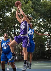 "Thanzina Cook, Maurita Reid West 4th Street Women's Pro Classic NYC: SEMIS-Primetime (Blue) 79 v Run N Shoot (Purple) 69, ""The Cage"", New York, NY, August 18, 2012"