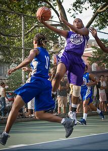 "Dawn Coleman, Maurita Reid West 4th Street Women's Pro Classic NYC: SEMIS-Primetime (Blue) 79 v Run N Shoot (Purple) 69, ""The Cage"", New York, NY, August 18, 2012"