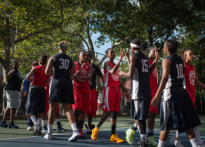 """West 4th Street Women's Pro Classic NYC: Semifinal 2: Big East Ballers (Red) 84 v No Limit (Navy) 80, """"The Cage"""", New York, NY, August 18, 2012"""