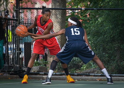 """Shenneika Smith, Monet Johnson West 4th Street Women's Pro Classic NYC: Semifinal 2: Big East Ballers (Red) 84 v No Limit (Navy) 80, """"The Cage"""", New York, NY, August 18, 2012"""