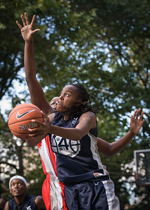 """Kim Blakney West 4th Street Women's Pro Classic NYC: Semifinal 2: Big East Ballers (Red) 84 v No Limit (Navy) 80, """"The Cage"""", New York, NY, August 18, 2012"""