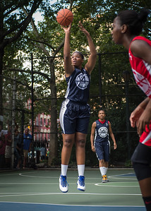 """Jennifer Blanding  West 4th Street Women's Pro Classic NYC: Semifinal 2: Big East Ballers (Red) 84 v No Limit (Navy) 80, """"The Cage"""", New York, NY, August 18, 2012"""