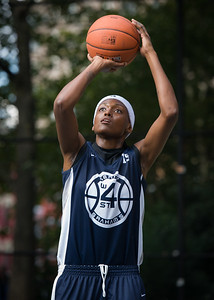 """Monet Johnson  West 4th Street Women's Pro Classic NYC: Semifinal 2: Big East Ballers (Red) 84 v No Limit (Navy) 80, """"The Cage"""", New York, NY, August 18, 2012"""