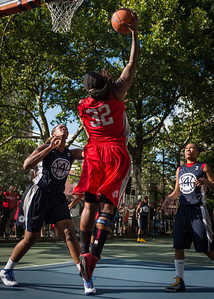 """Kellindra Zackery, Jennifer Blanding, Nastassia Boucicault West 4th Street Women's Pro Classic NYC: Semifinal 2: Big East Ballers (Red) 84 v No Limit (Navy) 80, """"The Cage"""", New York, NY, August 18, 2012"""