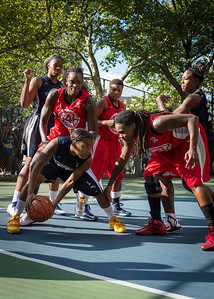 """Krystal Parnell, Michelle Campbell, Kellindra Zackery West 4th Street Women's Pro Classic NYC: Semifinal 2: Big East Ballers (Red) 84 v No Limit (Navy) 80, """"The Cage"""", New York, NY, August 18, 2012"""