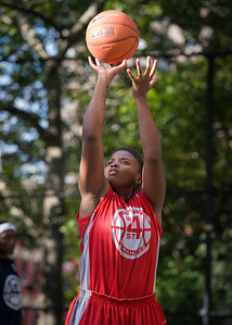 """Tasha Cannon  West 4th Street Women's Pro Classic NYC: Semifinal 2: Big East Ballers (Red) 84 v No Limit (Navy) 80, """"The Cage"""", New York, NY, August 18, 2012"""