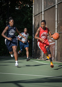 """Shenneika Smith, Juanita Whyms West 4th Street Women's Pro Classic NYC: Semifinal 2: Big East Ballers (Red) 84 v No Limit (Navy) 80, """"The Cage"""", New York, NY, August 18, 2012"""