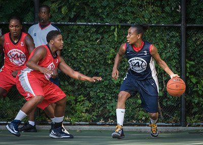 """Nastassia Boucicault, Tasha Cannon West 4th Street Women's Pro Classic NYC: Semifinal 2: Big East Ballers (Red) 84 v No Limit (Navy) 80, """"The Cage"""", New York, NY, August 18, 2012"""