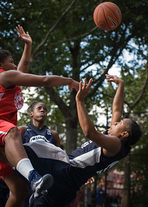 """Krystal Parnell, Tasha Cannon West 4th Street Women's Pro Classic NYC: Semifinal 2: Big East Ballers (Red) 84 v No Limit (Navy) 80, """"The Cage"""", New York, NY, August 18, 2012"""